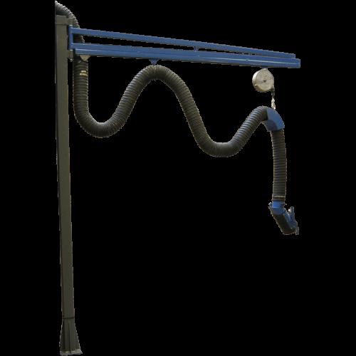 VAUPEL_Wandschwenkarm mit Polyp-Hängevorrichtung Typ VA mit C-Schiene incl. Rollen und Schlauchhalter 2000 mm - 6000 mm