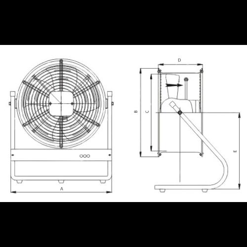 VAUPEL_tragbarer_Ventilator_Typ_PODRYW-N_technische_Zeichnung