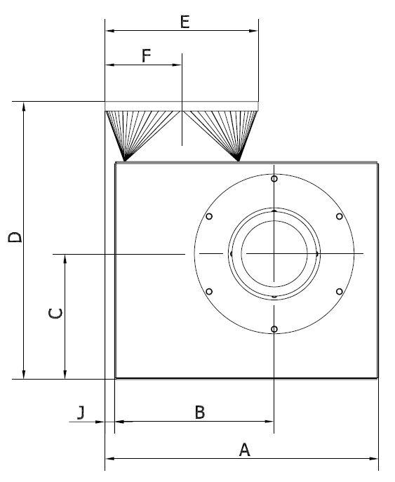 Ventilator Typ VE - Technische Zeichnung Front