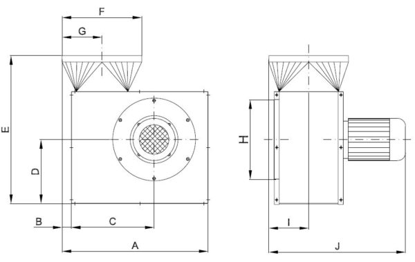 Skizze Radialventilator Typ VH