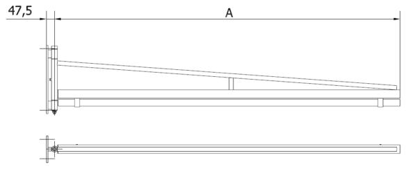 Wandschwenkarm mit Polyp-Hängevorrichtung Typ VA mit C-Schiene incl. Rollen und Schlauchhalter 2000 mm - 6000 mm - Technische Zeichnung