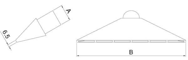 Saugschlitzdüse Typ VSPL-M mit Magnet für mittleren und hohen Druck - Technische Zeichnung