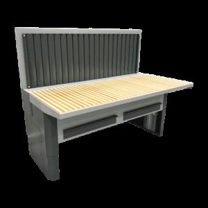 VAUPEL_elektrisch höhenverstellbarer Absaugtisch inklusive Hinterwand mit Absaugung, für Steh- und Sitzarbeiten, Typ UFH-E | Vaupel-Shop
