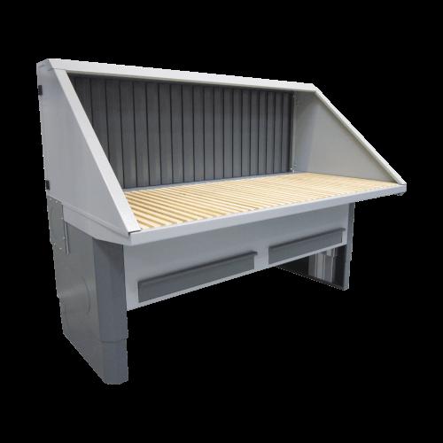 VAUPEL_elektrisch höhenverstellbarer Absaugtisch inklusive Hinterwand mit Absaugung, sowie Decke und Seitenwände ohne Schallschutz, für Steh- und Sitzarbeiten, Typ UFH-E-BS
