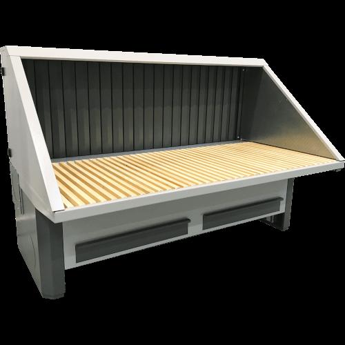 VAUPEL_elektrisch höhenverstellbarer Absaugtisch inklusive Hinterwand mit Absaugung, sowie Decke und Seitenwände mit Schallschutz, für Steh- und Sitzarbeiten, Typ UFH-E-BS-ISO