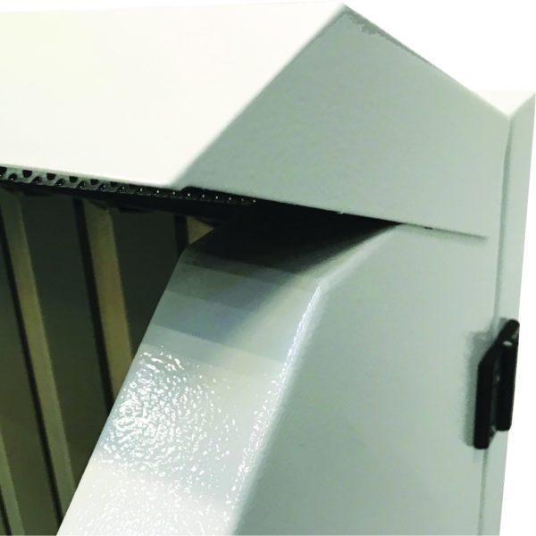 elektrisch höhenverstellbarer Absaugtisch Typ UFH-E - Bildausschnitt Hinterwand und bewegliche Seitenteile und Decke | Vaupel-Shop