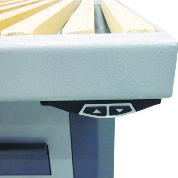 elektrisch höhenverstellbarer Absaugtisch Typ UFH-E - Bildausschnitt Bedienelement zur Höhenverstellung| Vaupel-Shop