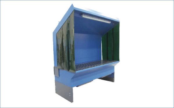 Universal höhenverstellbarer Absaugtisch Typ UF-EM - mit schräger Deckenabsaugung, Licht und Lamellen an den Seiten