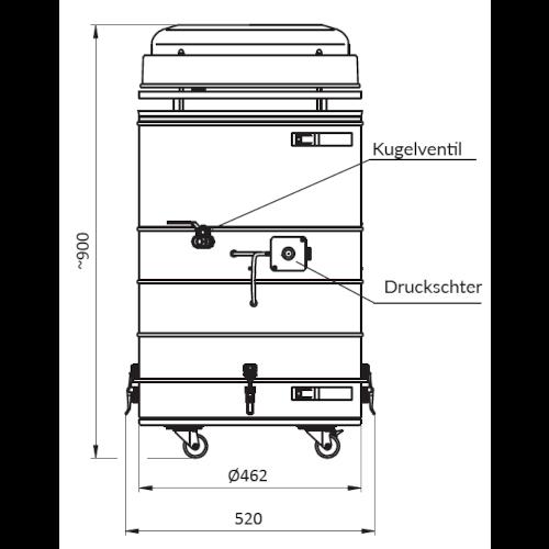 VAUPEL_hochvakuum_Schweißrauchabsaugung_Typ_Splendid-VAC-200_technische_Zeichnung_Front